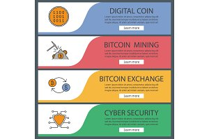 Cryptocurrency web banner templates set