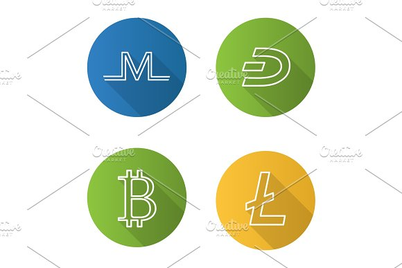 Cryptocurrency Flat Linear Long Shadow Icon