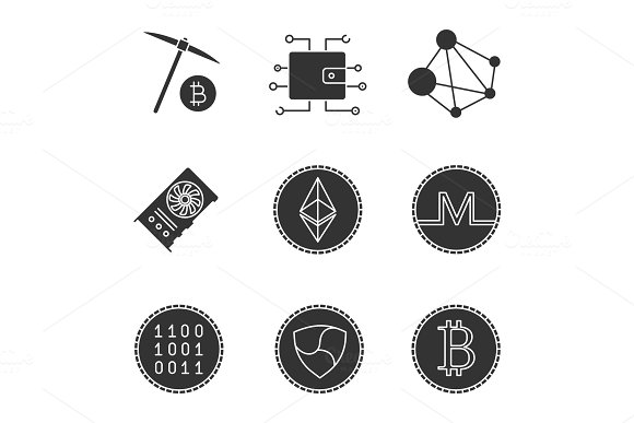 Cryptocurrency glyph icons set