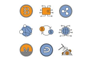 Cryptocurrency color icons set