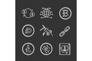 Cryptocurrency chalk icons set