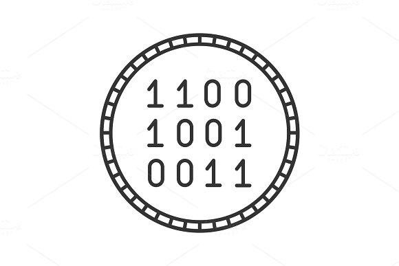Coin with binary code linear icon