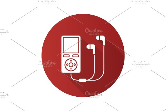 MP3 player flat design long shadow glyph icon in Icons