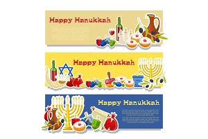 Jewish Holiday Hanukkah banners set. Vector illustration