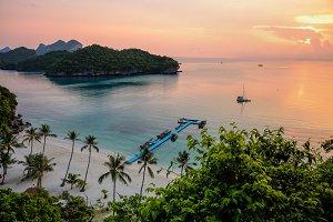 Sunrise at beach in Thailand