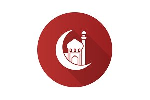Mosque with ramadan moon flat design long shadow glyph icon