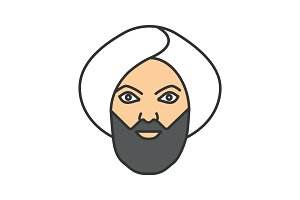 Muslim man color icon