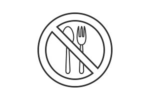 Forbidden sign with fork and spoon linear icon
