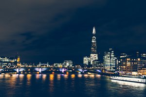 London skyline at night River Thames