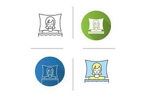 Woman sleeping in bed icon