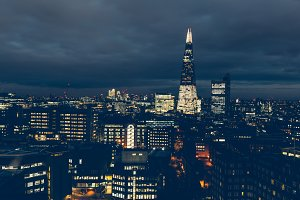 Aerial view of London night skyline