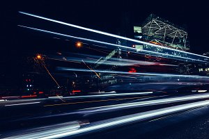 City light trails of road traffic