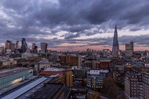 London cityscape skyline at sunset