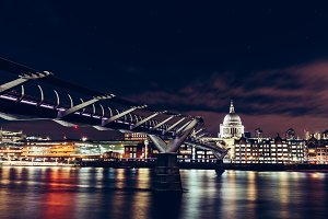London night skyline on River Thames