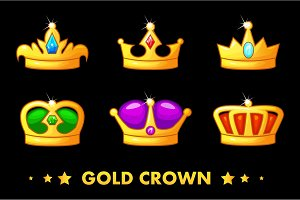 vector Cartoon golden crown icons