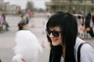 Fashionable girl with Cotton candy