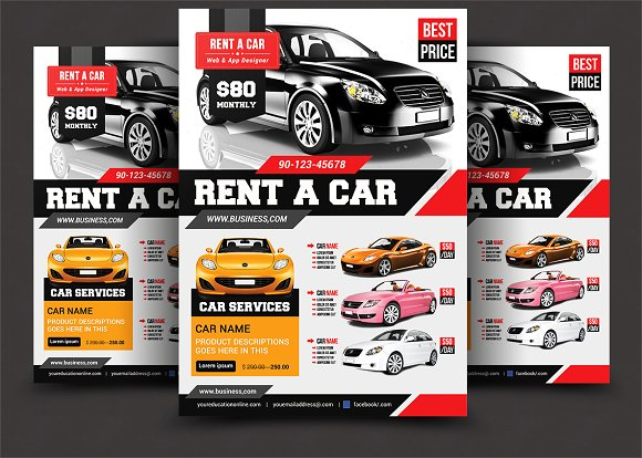 Rent A Car Flyer Template Flyer Templates Creative Market