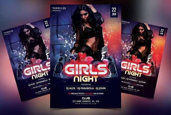 girls night dj psd flyer template flyer templates creative market