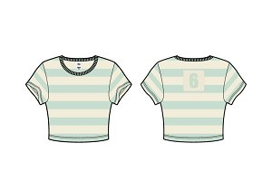 Women Roundneck Crop Tee Vector