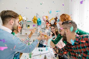Raining confetti at office party