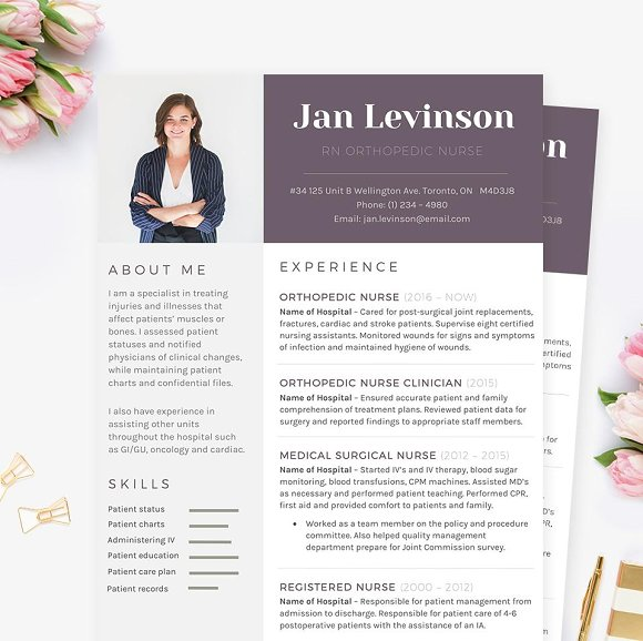 Nurse MS Word Resume Template Pkg Templates Creative Market