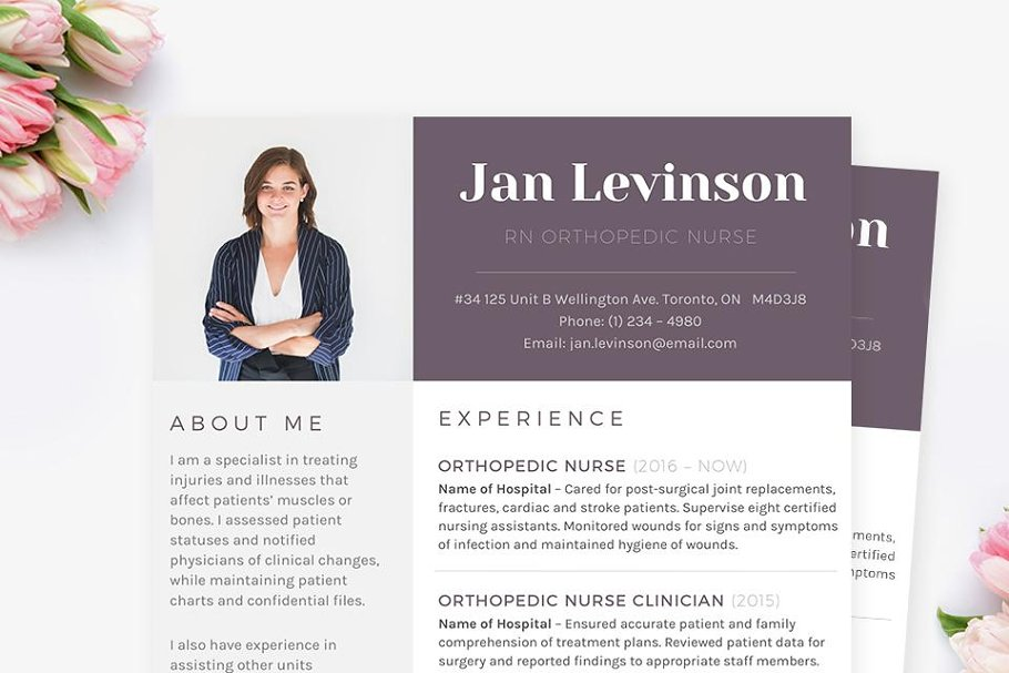Nurse MS Word Resume Template Pkg Templates Creative Market