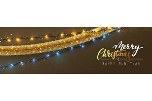 Christmas banner, Xmas sparkling lights garland and golden tinsel.
