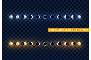 Solar and lunar eclipses full cycle. Sun and moon eclipses