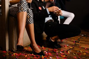 Confetti covered party floor