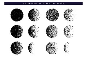 Set Brush stipple pattern for design. Dots black texture