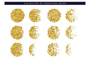 Set of brush stipple gold pattern for design. Dot texture.