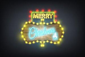 Christmas wooden neon retro board