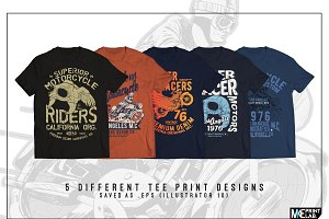MOTORCYCLE CONCEPT TEE PRINTS x5
