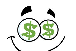 Cartoon Funny Face With Dollar Eyes