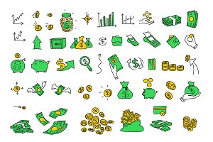 Hand drawn vector illustrations money coins bills elements. Finance payments banks cash Stock color vector