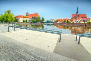 Wroclaw cityscape with Odra river