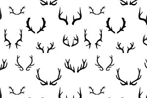 Seamless pattern with deer antlers.