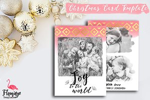 Christmas Card Template Gold & Pink