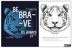TIGER ILLUSTRATION TEE PRINT DESIGN