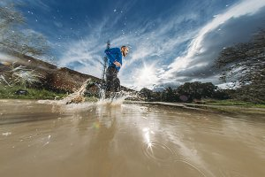 Man running above the water.