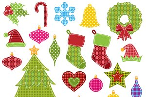 Patchwork Christmas Clipart/Vectors