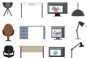 Workplace Interior Elements Set