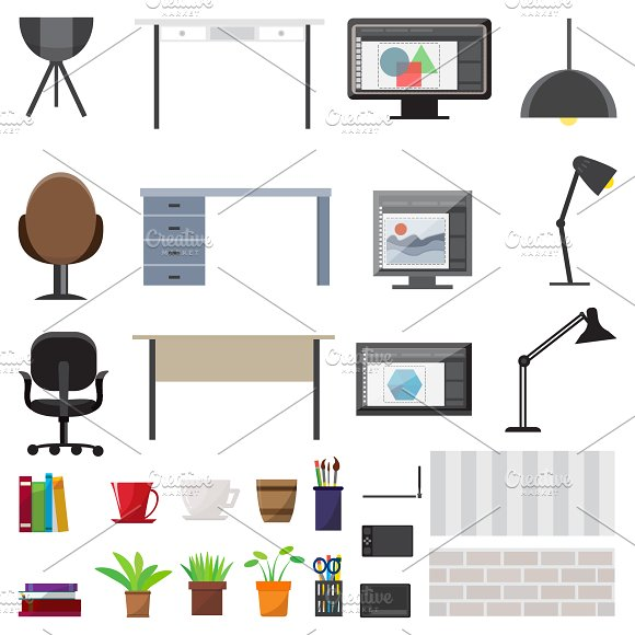 Workplace Interior Elements Set in Icons
