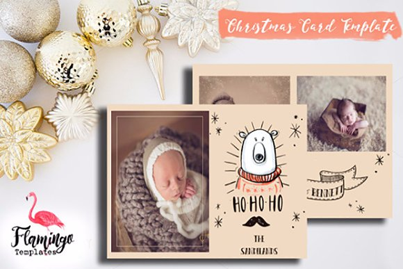 christmas card template holiday card templates creative market
