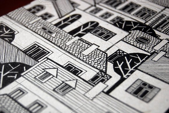 Illustrated City With Cute Buildings