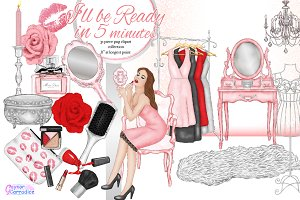 Beauty and makeup clipart set