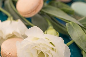 White lisianthus with macaroons