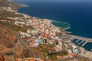 Bird eye view of Santa Cruz, La Palma, Spain