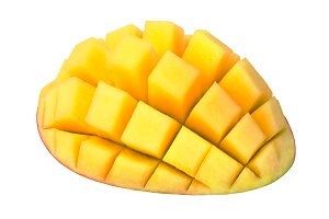 Mango sliced to cubes isolated