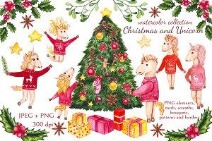 Watercolor Christmas and Unicorns